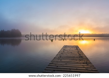 "sunrise at lake ""Schwarzer See"", Mecklenburgische Seenplatte in Germany - stock photo"