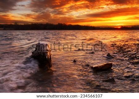 Sunrise at Longview Lake just outside of Kansas City, Missouri - stock photo