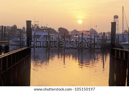 Sunrise at Mystic Seaport, Connecticut - stock photo