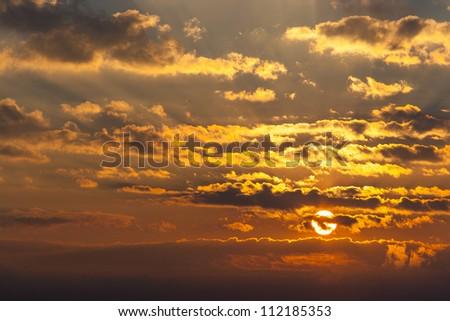 Sunrise at Nan, North of Thailand - stock photo
