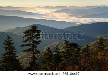 Sunrise at Overlook at Great Smoky Mountains - stock photo