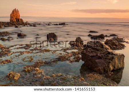 Sunrise at Playa de Portizuelo, Asturias, Spain - stock photo