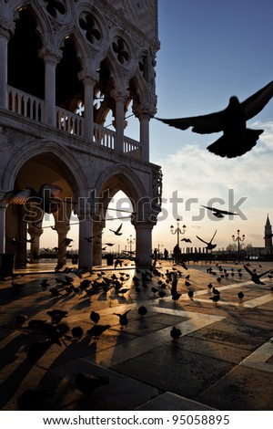 Sunrise at San Marco Square, Venice, Italy. Pigeons flying near the Doge`s Palace. - stock photo
