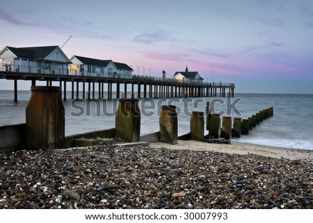 Sunrise at Southwold Pier - stock photo