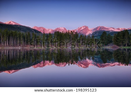 sunrise at Sprague lake, Rocky Mountain National Park, Colorado, USA - stock photo