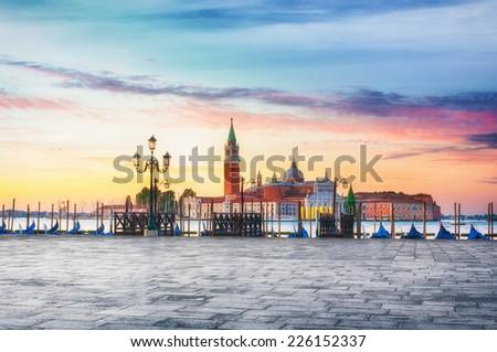 Sunrise at St. Mark's Square in Venice, Italy. - stock photo