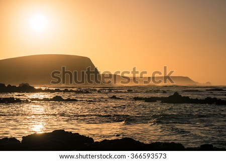 Sunrise at the coast of Kitty Miller Bay of Phillip Island, Victoria state of Australia. - stock photo