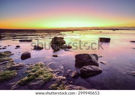 Sunrise at the Long reef. Sydney, Australia - stock photo