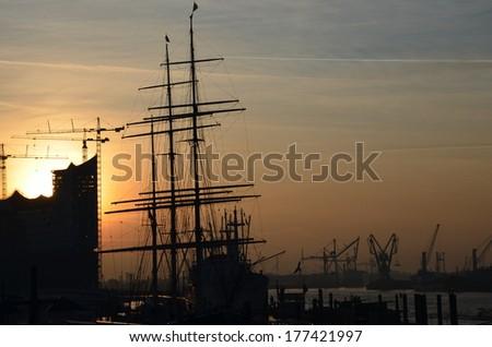 Sunrise at the Port of Hamburg - stock photo