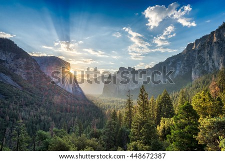 Sunrise at the tunnel View vista point at Yosemite National Park - stock photo