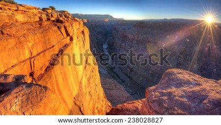 Sunrise at Toroweap Point, in Grand Canyon National Park. - stock photo
