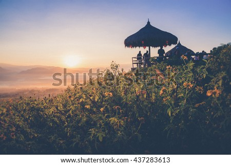 Sunrise at Yun Lai Viewpoint,Pai Chiangmai Thailand (Vintage filter effect used) - stock photo