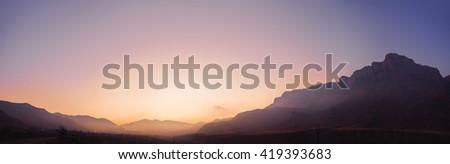 Sunrise canyon scenery, Caucasus mountains, Russia - stock photo