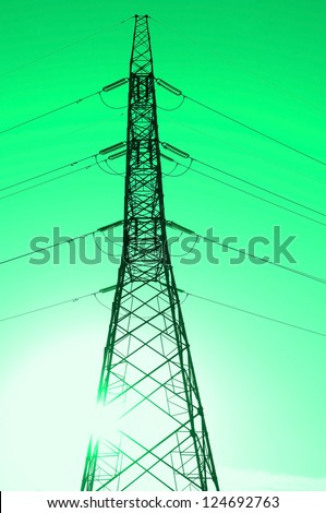 Sunrise electricity tower silhouette - stock photo
