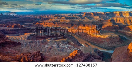 Sunrise from Dead Horse Point, Dead Horse Point State Park, Utah - stock photo