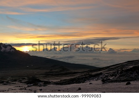 Sunrise from the slopes of Kilimanjaro (5.895 m) - Tanzania - stock photo