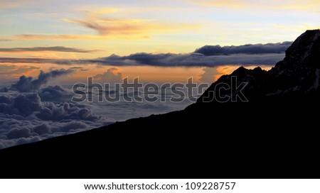 Sunrise from the slopes of Kilimanjaro (5.895 m) - Tanzania, Africa - stock photo