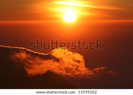 Sunrise from top of Kilimanjaro (5.895 m) - highest mountain in Africa. Tanzania - stock photo
