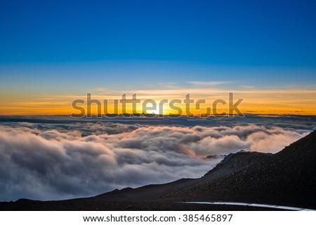 Sunrise, Haleakala National Park, Maui, Hawai'i - stock photo