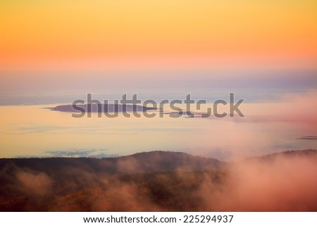Sunrise in Acadia National Park, Maine from top of Cadillac Mountain - stock photo