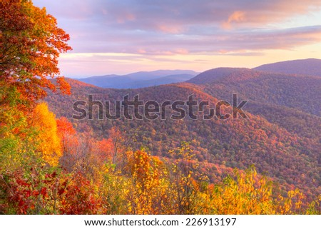 Sunrise in autumn at Shenandoah National Park. - stock photo