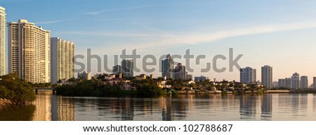 Sunrise in Aventura Florida by the intracoastal waterway - stock photo