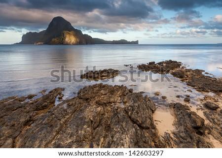 Sunrise in El Nido Philippines - stock photo
