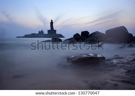 Sunrise  in Kanyakumari, India - stock photo