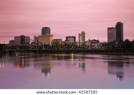 Sunrise in Little Rock, Arkansas. Morning time. - stock photo