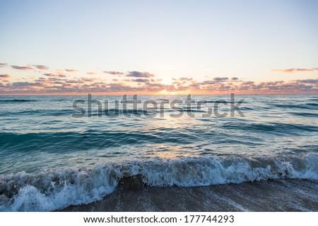 sunrise in Miami Beach - stock photo