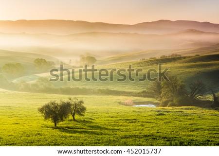 Sunrise in Orcia valley, Tuscany, Italy - stock photo