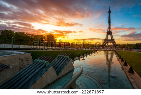 Sunrise in Paris - stock photo