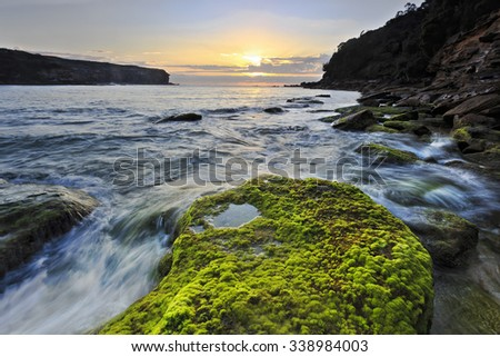 sunrise in Royal National park Wattamola beach with green moss covered boulder in foreground and rising sun above horizon - stock photo