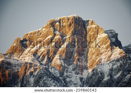 Sunrise in Telera Peak, Partacua Mountains, Tena Valley, Pyrenees, Huesca, Aragon, Spain - stock photo