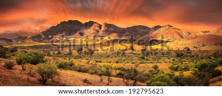 Sunrise in the Flinders Ranges - stock photo