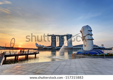 Sunrise in the morning at Singapore Marina Bay - stock photo