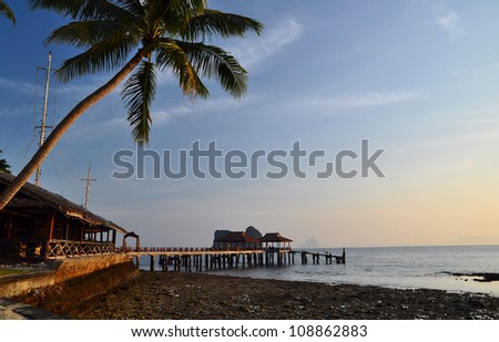 sunrise in the morning at the beach , trang , thailand - stock photo