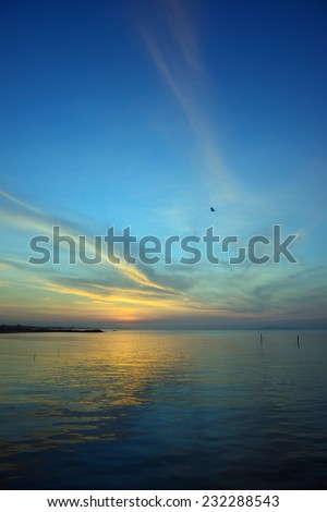 Sunrise in the sea - stock photo