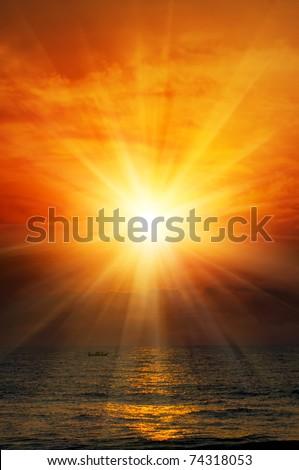sunrise in the sea - stock photo