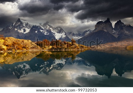 Sunrise in Torres del Paine National Park, Lake Pehoe and Cuernos mountains, Patagonia, Chile - stock photo