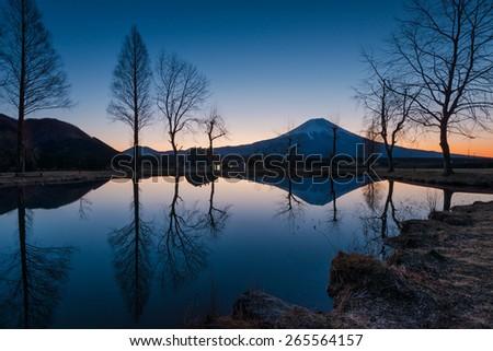 Sunrise landscape in Japan. - stock photo