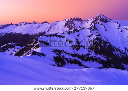 Sunrise landscape of winter landscape and mountains - stock photo