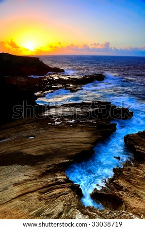 Sunrise Lava Cliffs - stock photo