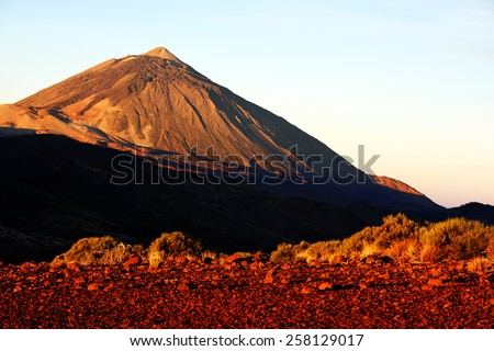 Sunrise light over El Teide Vocano, Tenerife, Canary Islands, Spain - stock photo