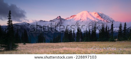 Sunrise Mt Rainier National Park Cascade Volcanic Arc - stock photo