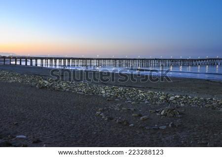 Sunrise near the Ventura Pier in Ventura, California - stock photo