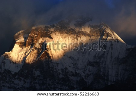 Sunrise of annapurna, Nepal - stock photo