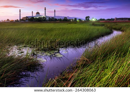 Sunrise of Central Mosque, Songkhla, Thailand - stock photo