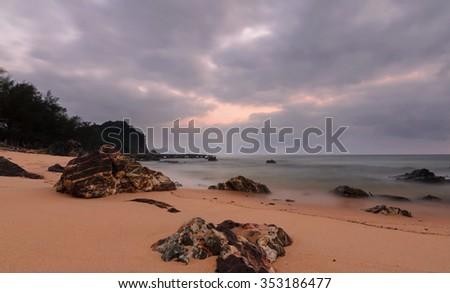 Sunrise of Kemasik Beach, Terengganu, Malaysia in long exposure - stock photo
