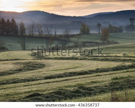 Sunrise on a Field, Irasburg, Vermont - stock photo